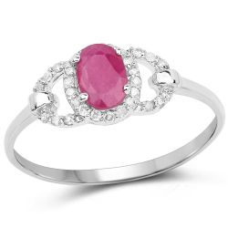 0.64 Carat Genuine Ruby and White Diamond 10K White Gold Ring