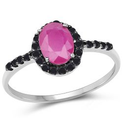 1.06 Carat Genuine Ruby and Black Diamond 10K White Gold Ring
