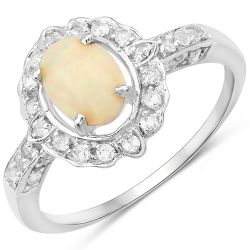 0.96 Carat Genuine Ethiopian Opal and White Topaz .925 Sterling Silver Ring