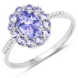 1.20 Carat Genuine Tanzanite and White Diamond 10K White Gold Ring