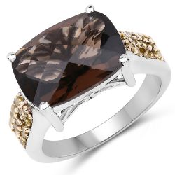 """5.27 Carat Genuine Smoky Quartz, Yellow Diamond & White Diamond .925 Sterling Silver Ring"""