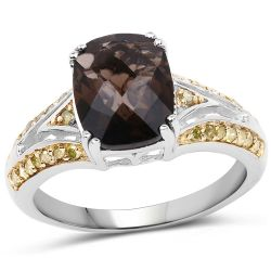 2.44 Carat Genuine Smoky Quartz, Yellow Diamond & White Diamond .925 Sterling Silver Ring
