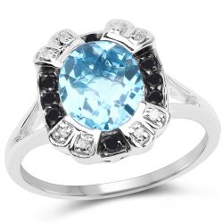 3.52 Carat Genuine Baby Swiss Blue Topaz, Black Diamond and White Diamond .925 Sterling Silver Ring
