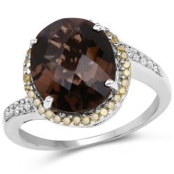4.85 Carat Genuine Smoky Quartz, Yellow Diamond & White Diamond .925 Sterling Silver Ring
