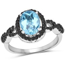 2.92 Carat Genuine Blue Topaz, Black Diamond & White Diamond .925 Sterling Silver Ring