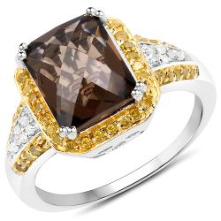 3.48 Carat Genuine Smoky Quartz, Yellow Diamond and White Diamond .925 Sterling Silver Ring