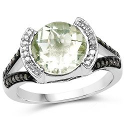 3.59 Carat Genuine Green Amethyst, Green Diamond & White Diamond .925 Sterling Silver Ring