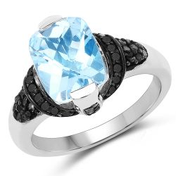 3.81 Carat Genuine Baby Swiss Blue Topaz, Black Diamond and White Diamond .925 Sterling Silver Ring
