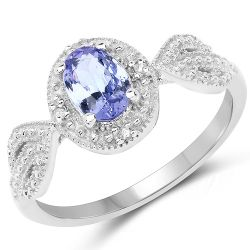 0.77 Carat Genuine Tanzanite & White Diamond .925 Sterling Silver Ring