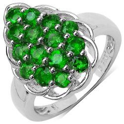 1.71 Carat Genuine Chrome Diopside .925 Sterling Silver Ring