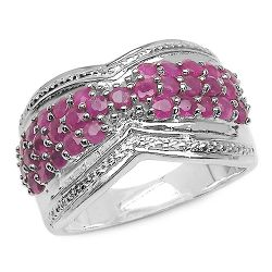 1.65 Carat Genuine Ruby .925 Sterling Silver Ring
