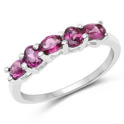 1.05 Carat Genuine Rhodolite .925 Sterling Silver Ring