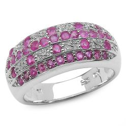 1.02 Carat Genuine Ruby .925 Sterling Silver Ring