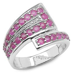 1.29 Carat Genuine Ruby .925 Sterling Silver Ring