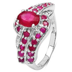 1.82 Carat Genuine Glass Filled Ruby & Ruby .925 Sterling Silver Ring