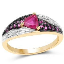14K Yellow Gold Plated 0.76 Carat Genuine Glass Filled Ruby, Created Ruby & White Topaz .925 Sterling Silver Ring