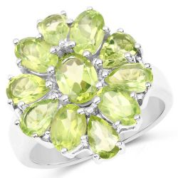 5.03 Carat Genuine Peridot .925 Sterling Silver Ring