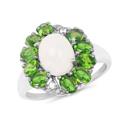 """2.93 Carat Genuine Ethiopian Opal, Chrome Diopside & White Topaz .925 Sterling Silver Ring"""