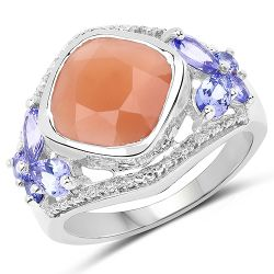 4.67 Carat Genuine Peach Moonstone and Tanzanite .925 Sterling Silver Ring