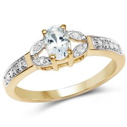 14K Yellow Gold Plated 0.42 Carat Genuine Aquamarine and White Diamond .925 Sterling Silver Ring