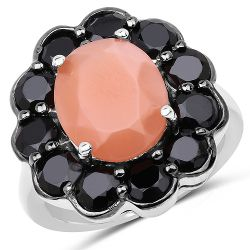 7.88 Carat Genuine Peach Moonstone and Black Spinel .925 Sterling Silver Ring