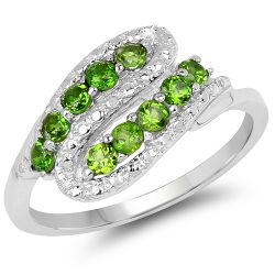 0.50  Carat Genuine Chrome Diopside .925 Sterling Silver Ring