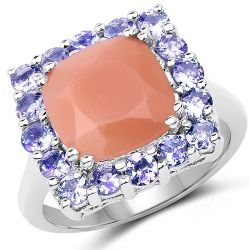 6.70 Carat Genuine Peach Moonstone and Tanzanite .925 Sterling Silver Ring