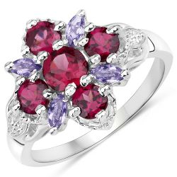 1.89 Carat Genuine Rhodolite and Iolite .925 Sterling Silver Ring