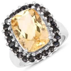 7.46 Carat Genuine Citrine and Black Spinel .925 Sterling Silver Ring