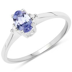 0.46 Carat Genuine Tanzanite & White Diamond .925 Sterling Silver Ring