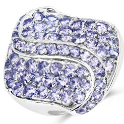3.65 Carat Genuine Tanzanite .925 Sterling Silver Ring