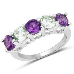 2.25 Carat Genuine Amethyst and Green Amethyst .925 Sterling Silver Ring