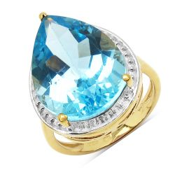 14K Yellow Gold Plated 10.50 Carat Genuine Blue Topaz .925 Sterling Silver Ring