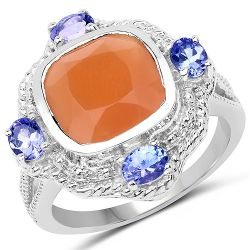 4.23 Carat Genuine Peach Moonstone and Tanzanite .925 Sterling Silver Ring