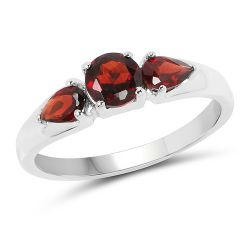 1.08 Carat Genuine Garnet .925 Sterling Silver Ring