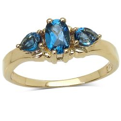 14K Yellow Gold Plated 1.05 Carat Genuine London Blue Topaz .925 Sterling Silver Ring