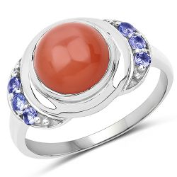 3.01 Carat Genuine Peach Moonstone and Tanzanite .925 Sterling Silver Ring