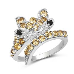1.00 Carat Genuine Citrine & Black Spinel .925 Sterling Silver Ring