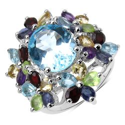 10.34 Carat Genuine Multi Stone .925 Sterling Silver Ring