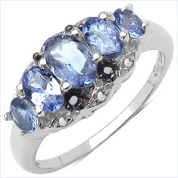 1.35 Carat Genuine Tanzanite , Black Diamond & White Diamond .925 Sterling Silver Ring