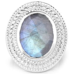 7.00 Carat Genuine Labradorite .925 Sterling Silver Ring