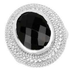 6.60 Carat Genuine Black Onyx .925 Sterling Silver Ring