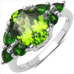 3.40 Carat Genuine Peridot & Chrome Diopside .925 Sterling Silver Ring
