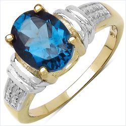 14K Yellow Gold Plated 2.50 Carat Genuine London Blue Topaz .925 Sterling Silver Ring