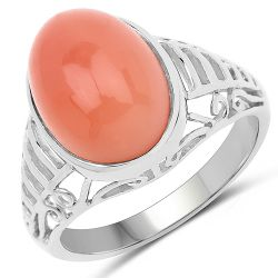 6.00 Carat Genuine Peach Moonstone .925 Sterling Silver Ring