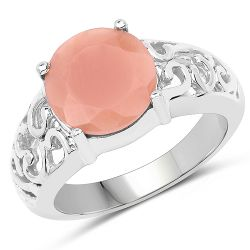 3.30 Carat Genuine Peach Moonstone .925 Sterling Silver Ring