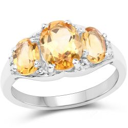 2.07 Carat Genuine Citrine & White Topaz .925 Sterling Silver Ring