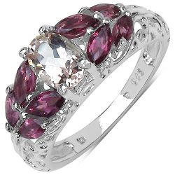 1.66 Carat Genuine Morganite & Rhodolite .925 Sterling Silver Ring