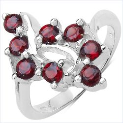 1.04 Carat Genuine Garnet .925 Sterling Silver Ring