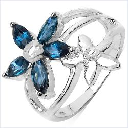 1.40 Carat Genuine London Blue Topaz .925 Sterling Silver Ring